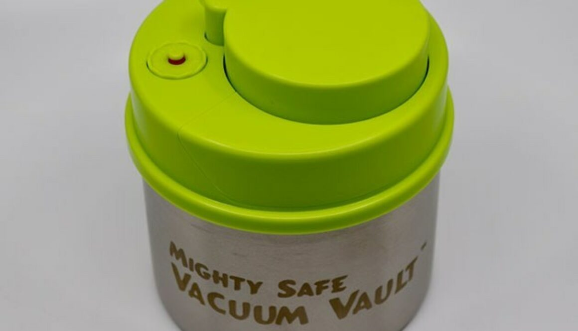 The Mighty Safe Vacuum Vault keeps your herbs and edibles fresh for approximately 15 days