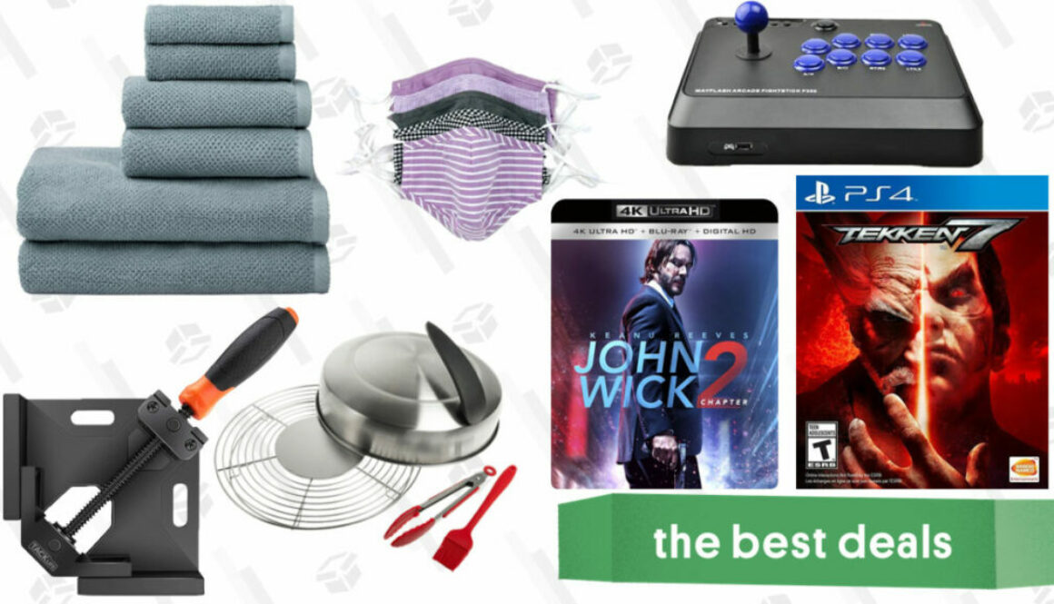 Sunday's Best Deals: Right Angle Clamps, Bath Towels, John Wick, Packs of Masks, and More